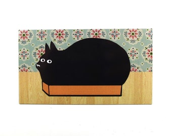 cat box magnet, black cat magnet, funny cat magnet, kitty litter box, cat hiding magnet, fat black cat, refrigerator magnet, fridge magnet