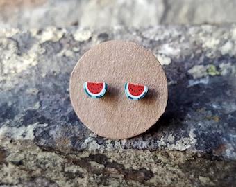 Melon half ear studs, sterling silver, fruit post earrings, fruit stud earrings, tiny, kawaii, fun