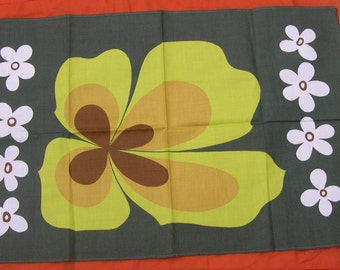 VINTAGE 60's 70's cloth POP Art flower Geometric green psychedelic kitchen kitchen Never Used MOD 1960 1970 Flower power swinging london