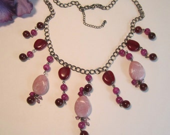 Silvertone Necklace with Purple, Burgundy and Pink Beads   (#203)