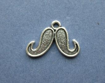 8 Mustache Charms - Mustache Pendants - Mustaches - Mustache - Antique Silver - 15mm x 22mm --(Q5-10718)