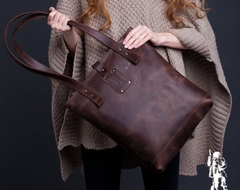 Brown Leather Tote Bag / Women Handbag / Genuine Leather Shopper Bag / Leather Handbag / Leather Fashion Bag / Leather Ladies Shoulder Bag
