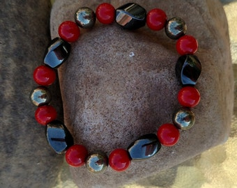 The Reinforcer Stretch Bracelet Hematite Red Coral Pyrite