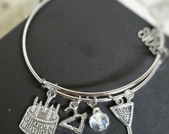 21st Birthday gift for her, 21st Birthday Bracelet, Birthday Gift for her, 40th Birthday, 18th Birthday, 16th Birthday, 30th Birthday, 50th