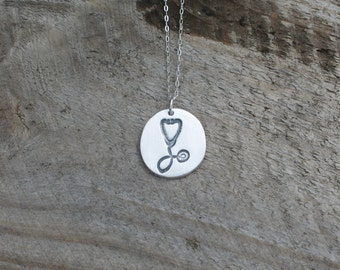 Stethoscope - Medical Doctor tool fine silver pendant