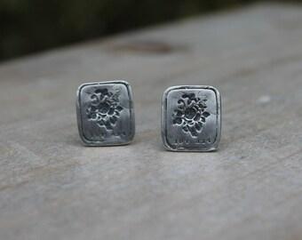 For you - Wax seal fine silver earrings