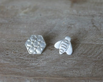 Fine silver Bee and Honeycomb - sterling silver earrings
