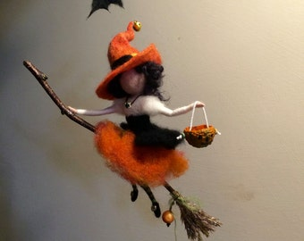 Needle felted Fairy, Waldorf inspired, Witch with a magic broom, Halloween, Wool Witch,Orange, Mobile, Art doll, Autumn ornament