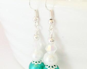 Jade Drop Earrings Bridesmaid Earrings White Pearl Earrings Jade Jewelry Wedding Earrings Bridesmaid Gift Crystal Jewelry Crystal Earrings