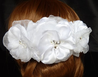 Satin Organza and Swarovski Crystal Wedding  Hair Accessory