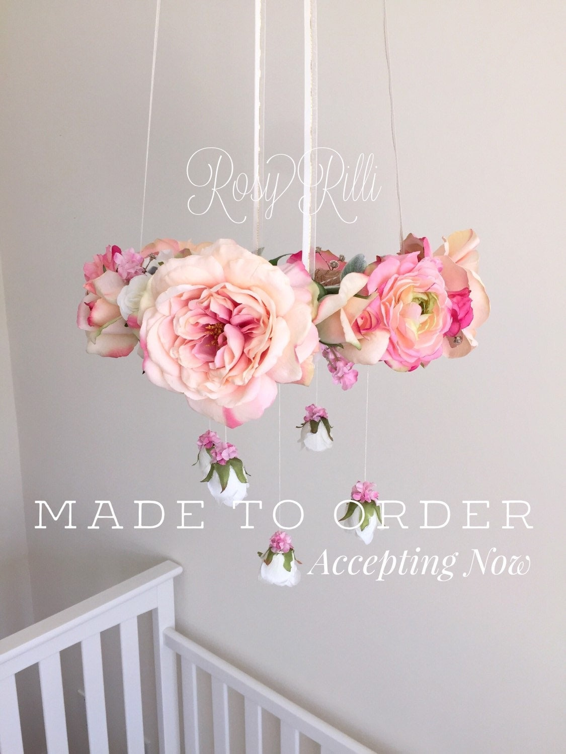 Bright Pink And Gold Nursery Flower Mobile Pink Crib Mobile