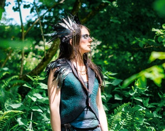 Feather Headpiece, shamanic witch, warrior princess, performer,Magpie, tribal belly-dancer