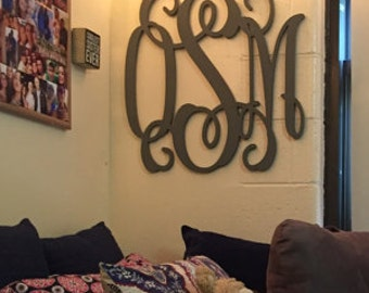 Painted Wooden Monogram - Wooden Monogram Wall Hanging - Dorm Room Monogram - Bed Monogram