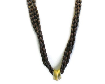 Long Multi Strand Oval Dark Brown Wood Bead Necklace With Matte Gold Accent Rings, Gift For Her