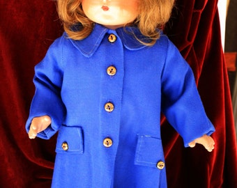 Early 1950's Patriotic Blue Coat and beret hat with Service stars for your Larger Composition Dolls ~ OLD STOCK SALE