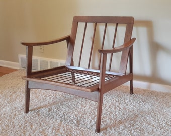 Mid Century Danish Modern Wood Lounge Chair