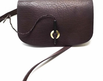 Woman's Handmade Shoulder Bag-Clutch made of Natural Full Grain Calf Thick Brown Leather