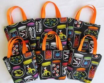 Set of 6 Halloween Fabric Gift Bags/ Party Favor Bags/ Halloween Goody Bags- Specimen Jars
