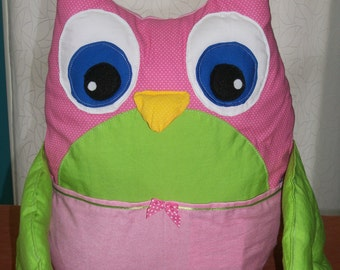 Cushion OWL pink and green