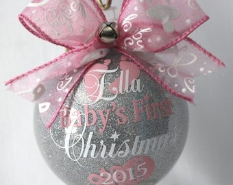 "Baby's First Christmas Ornament personalized New baby ornament 4"" Glass or (Acrylic hard plastic that will not break) made with Vinyl decal"