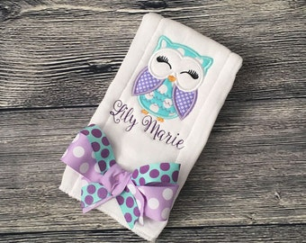 Owl Baby Burp Cloth, PERSONALIZE Baby Girl Owl Burp Clothes, Infant Newborn MONOGRAM Custom Owl Shower Gift Burpie Clothes Made to Order