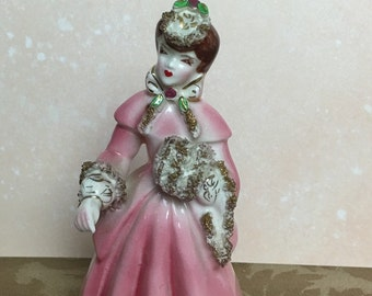 """5"""" Lipper and Mann Creations Porcelain Lady Figurine with Pink Coat and Raised Gold Trim  coat with gold trim, Japan,"""