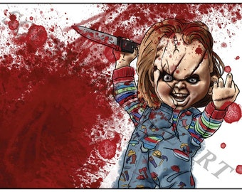 Chucky Child's Play Inspired A4 Horror Splash Print
