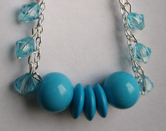 Silver with blue turquoise beads necklace