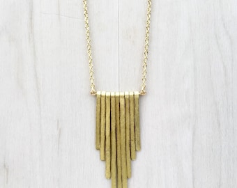 Hammered Brass Fringe Necklace