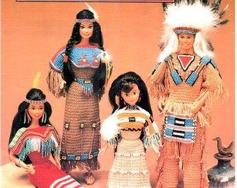 7 Designs! Native American Fashion Dolls, Crocheted Blackfoot, Sioux, Arapaho, Cheyenne and Seminole clothes pattern to fit Barbie & Ken!