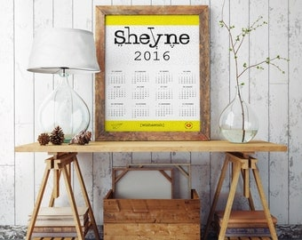 Personalized calendar 2016, custom calendar 2016 with your logo, personalized decor, personalized wall calendar, printable calendar 2016