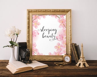Nursery wall art decor prints, Baby girl nursery wall art, Pink nursery wall art decor, Sleeping beauty, Baby shower gift for Newborn BD-888