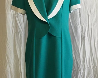 Vintage Turquoise Dress With White Trim