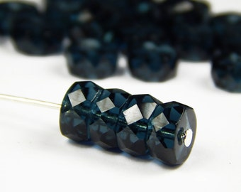 20 Pcs - 5x8mm Montana Blue Faceted Czech Glass Disc Beads - Rondelle Beads - Spacer Beads - Jewelry Supplies