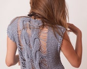 Cable knit tank top, gray loose top, sleeveless top, soft cotton bamboo summer tee, sexy knit top, hippie clothes, fashion women tops, boho