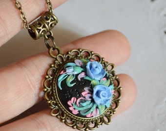 Pendant Handmade Floral jewelry Blue flowers pendant Cute gift|for|her Romantic Necklace Flower pendant Gift for her Black pendant Nature