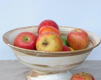 large pedestal bowl, pedestal fruit bowl, white fruit bowl, ceramic salad bowl, large ceramic bowl, rustic bowl, footed bowl, gift Idea