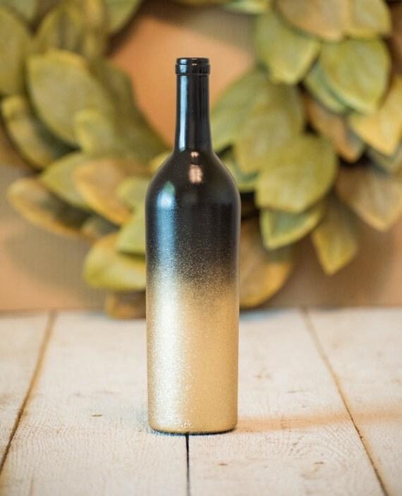 Gold wine bottle wedding centerpiece black glitter decor for Gold wine bottle centerpieces