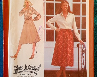 "Vintage 1978 back-wrap skirt sewing pattern - Simplicity 8758 - size 10 ( 25"" waist, 34.5"" hip) - 1970s"