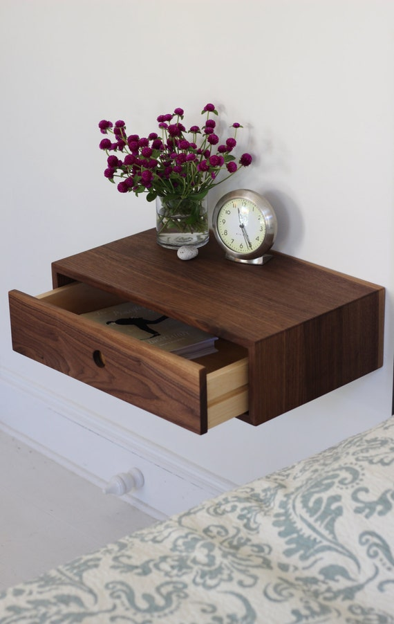 Nightstand Table: Floating Nightstand With Drawer / Mid Century Modern By