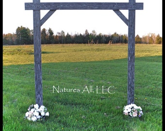 Rustic Wood Wedding Arch/Wedding Arbor/Complete Kit For Indoor Or Outdoor Use/Country Wedding Backdrop/Weathered Gray/Shipping Included/