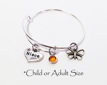 Gift for Niece, Niece Gift, Aunts and Niece, Aunt Niece, Niece, Adjustable Bangle Bracelet, Thank You Gift for Niece, Wedding Party Gifts
