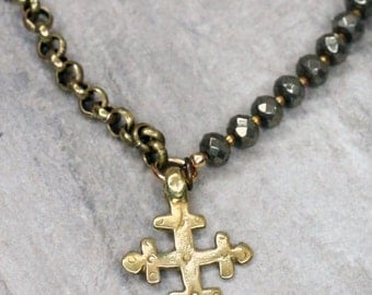 Moroccan Cross & Pyrite Necklace