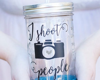 I Shoot People 24 oz Mason Jar Tumbler- Glitter Dipped Tumbler- Personalized Mason Jar- Glitter Tumbler