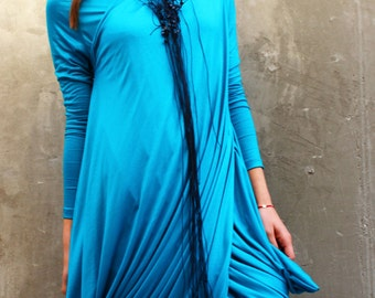 Turquoise Plus Size Tunic/ Maxi Drape Top/Loose Tunic/Extravagant Top/Asymmetrical Top /Twisted Top  by Fraktura B0043