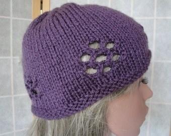 woman purple hat, purple knit cap, vegan knit beanie, knitted hat lace design, teenager purple cap, open-work knit hat, rich purple beanie