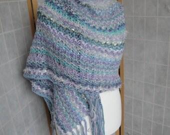 aqua knit bridal stole, pastel blue wedding wrap, super-size stole, one-of-a-kind wrap, mixed fibre scarf, summer evening stole, party wrap
