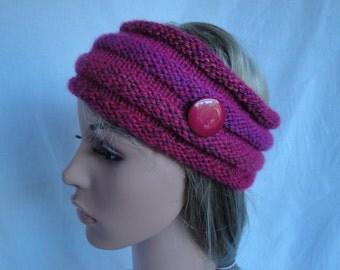 cerise pink headwarmer, woman's earwarmer, fuchsia mix headband, vegan earwarmer, knitted hairband, acrylic headwarmer, button trim headband