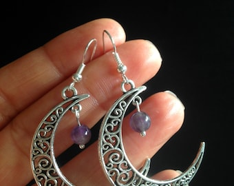 Moon Earrings Crescent Moon Silver Plated Amethyst Hippie Bohemian Ethnic Boho Festival Tribal Bohemian New UK Seller