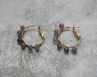 Tiny Wire Wrapped Amethyst Hoop Earrings, Gold Filled Hoop Earrings with Gemstones, Amethyst Earrings, Purple and Gold Earrings